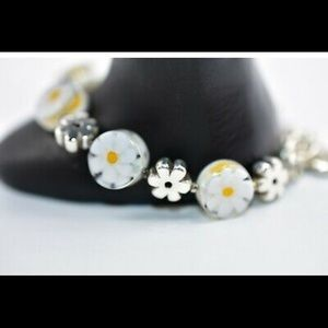 Brighton Retired Daisy and Silver Plates Bracelet
